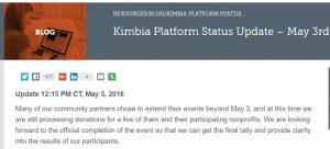 Screen shot of Kimbia page on outages